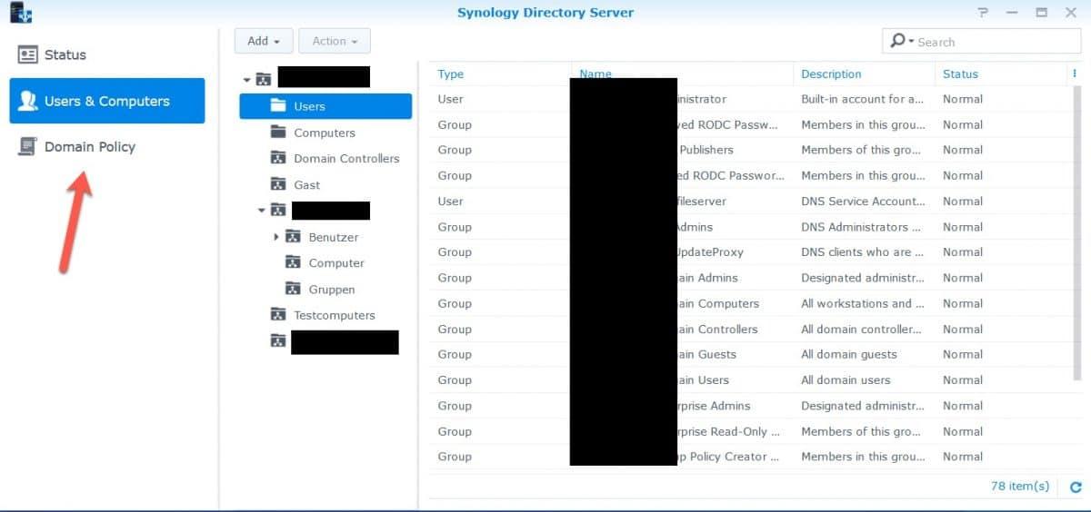 Synology Directory Server screenshot
